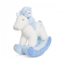 """Ourson """"Nico"""" cheval à bascule musical bleu"""