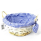 Round Blue Gingham Basket with handles