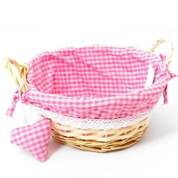 Round Pink Gingham Basket with handles