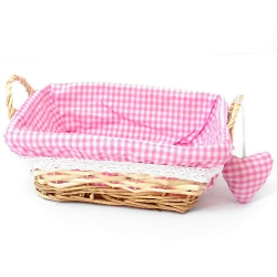 Rectangular Pink Gingham Basket with handles