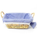 Rectangular Blue Gingham Basket with handles