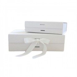 Luxury Gift /Keepsake Box with removable ribbon - White
