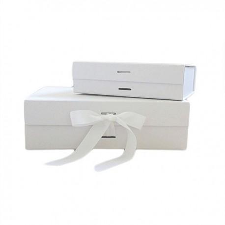 Luxury Gift /Keepsake Box with removable ribbon - White