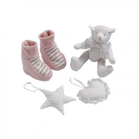 Baby 4pc Gift Box -Polka Pink by Les Bebes D'Elysea