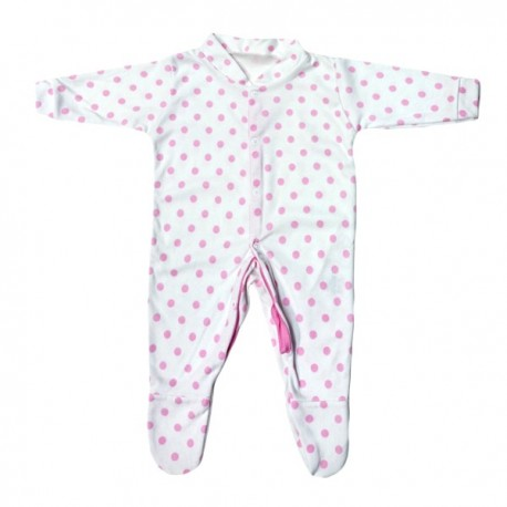 Pink Polka Dot Pattern Cotton Sleepsuit 3-6m