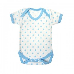 Blue Polka Dot Pattern Cotton Bodysuit 3-6m