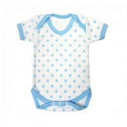 Blue Polka Dot Pattern Cotton Bodysuit 3-6m
