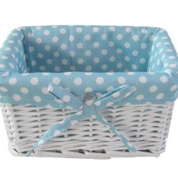 Painted basket with blue polka dot lining - small size 22 x17cm
