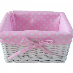 Painted basket with pink polka dot lining - small size 22 x17cm
