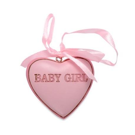 """Coeur en résine rose """"Baby girl"""""""