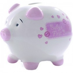 Baby's first small piggy bank pink