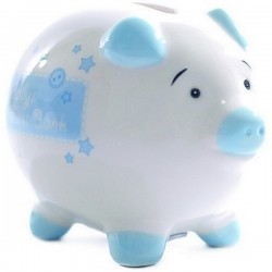 Baby's first small piggy bank blue