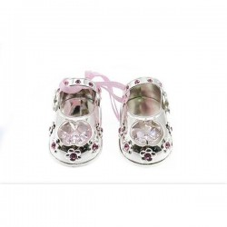 Silverplated Crystal Baby Shoes Pink