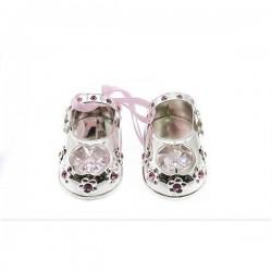 Zilveren schoentjes met kristal roze
