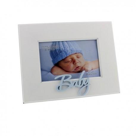White baby frame blue 10x15 cm