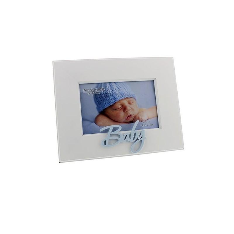 White baby frame blue 10x15 cm - Babitoudou