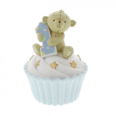 Resin Money Bank Blue Teddy Bear 1st Birthday