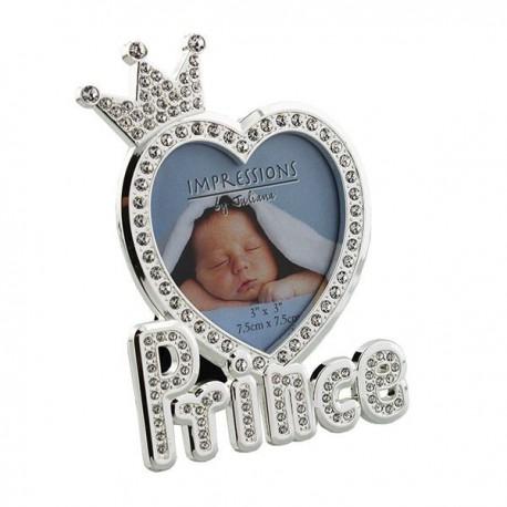 """Cadre photo """"Prince"""" argenté avec cristaux"""