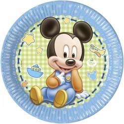 """Assiettes en carton """"Bébé Mickey Mouse"""" x8"""