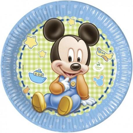 "Kartonnen bordjes ""Baby Mickey Mouse"" x8"