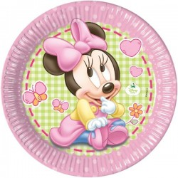"Kartonnen bordjes ""Baby Minnie Mouse"" x8"