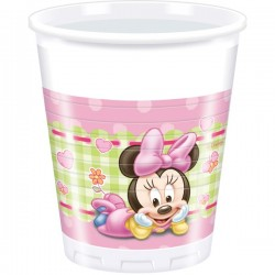 "200ml Plastic Cups ""Baby Minnie Mouse"" x8"