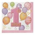 """Serviettes en papier """"1st Birthday"""" rose x16"""