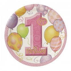 """1st Birthday"" roze kartonnen bordjes x8 (17 cm)"
