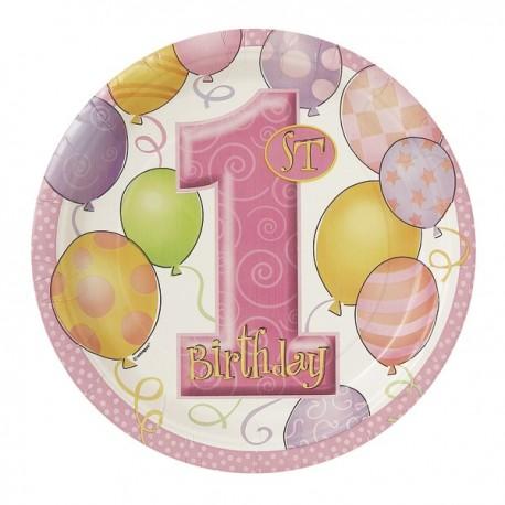 "Assiettes en carton ""1st Birthday"" rose x8 (17 cm)"