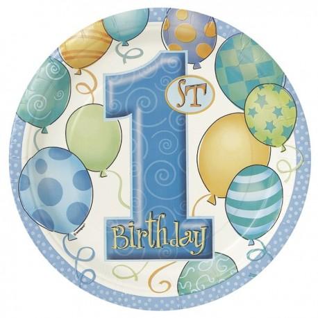 """1st Birthday"" blauw kartonnen bordjes x8"