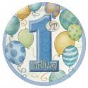 """Assiettes en carton """"1st Birthday"""" bleu x8"""