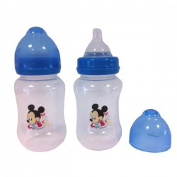 "Disney ""Baby Mickey Mouse"" Wide Neck Baby Bottle x2"