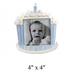 "Cadre photo 10 x 10 cm ""My First Birthday"" bleu"