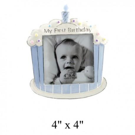 "Cadre photo 10 x 10 cm ""My First Birthday"" bleu"