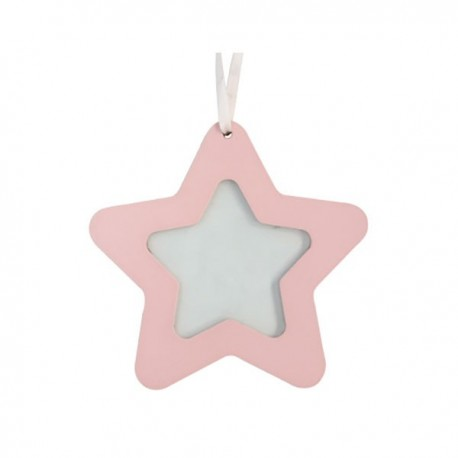 Pink Wood Star Picture Frame Decoration
