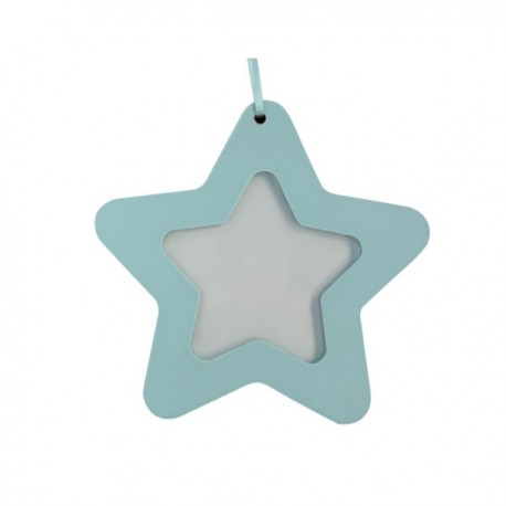 Blue Wood Star Picture Frame Decoration
