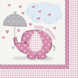 Umbrellaphants Baby Shower Pink Napkins x16