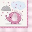 Serviettes en papier éléphant rose pour Baby Shower x16
