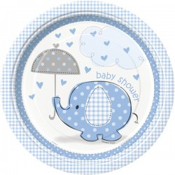Assiettes en carton éléphant bleu pour Baby Shower x8