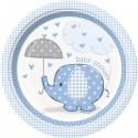 Umbrellaphants Baby Shower Blue 9'' plates x8