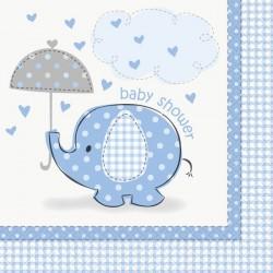 Serviettes en papier éléphant bleu pour Baby Shower x16