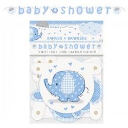 Bannière éléphant bleu pour Baby Shower