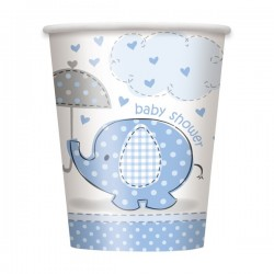 Umbrellaphants Baby Shower Blue 9 oz Paper Cup x8