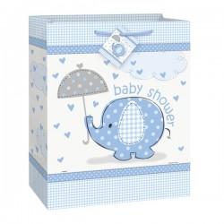 Sac cadeau éléphant bleu pour Baby Shower