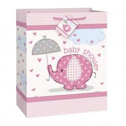 Sac cadeau éléphant rose pour Baby Shower