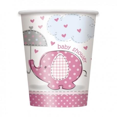 """""""Olifant"""" kartonnen bekertjes roze voor Baby Shower x8"""