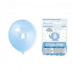 "Umbrellaphants ""Baby Shower"" Blue 12'' Balloons x8"