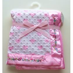 Couverture rose à petits coeurs bords satinés