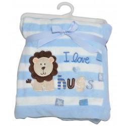 """Gestreepte deken """"leeuw"""" blauw"""