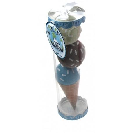 Coffret cadeau chaussettes en cornet de glace bleu